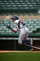 GCL Rays outfielder Oscar Rojas (6) at bat during the first game of a doubleheader against the GCL Orioles on August 1, 2015 at the Ed Smith Stadium in Sarasota, Florida.  GCL Orioles defeated the GCL Rays 2-0.  (Mike Janes/Four Seam Images)