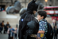 """Batman in support and solidarity! <br /> <br /> London, 21/06/2016. Today, hundreds of people gathered in Trafalgar Square to hold a demonstration in support with the """"Stay In the EU/Remain in the EU"""" campaigns ahead of the EU referendum which will be held in Great Britain the 23rd of June 2016. From the organiser Facebook page: <<[…] Thursday's vote is about much more than the tangible benefits of our membership in the EU, it's about the kind of country we want to live in and the kind of future we want to see. […] Let's come together to promote the values that define our generation and make sure we vote Remain on June 23rd>>.<br /> <br /> For more information please click here: https://www.facebook.com/events/1726890050917017/?active_tab=highlights"""