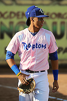 Alex Santana (21) of the Ogden Raptors prior to the game against the Helena Brewers at Lindquist Field in Ogden Utah on July 20, 2013.  (Stephen Smith/Four Seam Images)