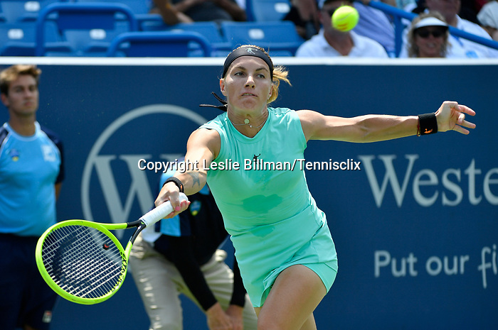 August 18,2019:   Svetlana Kuznetsova (RUS) loses to Madison Keys (USA) 7-5, 7-6, at the Western & Southern Open being played at Lindner Family Tennis Center in Mason, Ohio.  ©Leslie Billman/Tennisclix/CSM