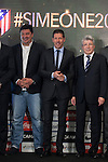 Mono Burgos (L), Diego Pablo `Cholo´ Simeone (C) and Enrique Cerezo during Simeone´s contract renewal announcement as Atletico de Madrid´s coach until 2020, in Madrid, Spain. March 24, 2015. (ALTERPHOTOS/Victor Blanco)