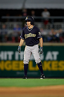 Scranton/Wilkes-Barre RailRiders Billy Burns (17) leads off during an International League game against the Rochester Red Wings on June 24, 2019 at Frontier Field in Rochester, New York.  Rochester defeated Scranton 8-6.  (Mike Janes/Four Seam Images)