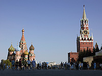 Red Square, St basils Cathedral and Spasskaya Tower, Moscow, Russia