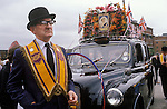 Belfast Ireland 1980s The Troubles. Protestant man at Loyalists funeral.