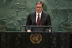 General Assembly Seventy-fourth session, 7th plenary meeting<br /> <br /> <br /> His Excellency Aleksandar Vucic, President, Republic of Serbia