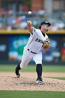Charlotte Knights relief pitcher Carson Fulmer (19) delivers a pitch to the plate against the Indianapolis Indians at BB&T BallPark on August 22, 2018 in Charlotte, North Carolina.  The Indians defeated the Knights 6-4 in 11 innings.  (Brian Westerholt/Four Seam Images)