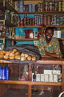 Senegal, Saint Louis.  A Pular Senegalese Shopkeeper from the Fouta Jalon region.