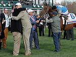 LEXINGTON, KY - APRIL 09:  Trainer Dale Romans, and Brody's Cause owner Dennis Albaugh hug after #6 Brody's Cause and jockey Luis Saez win the 92nd running of the Toyota Blue Grass (Grade 1) $1,000,000 at Keeneland race course for owner Albaugh Family Stable (Dennis Albaugh) and trainer Dale Romans. April 9, 2016 in Lexington, Kentucky. (Photo by Candice Chavez/Eclipse Sportswire/Getty Images)