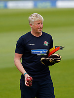 29th May 2021; Emirates Old Trafford, Manchester, Lancashire, England; County Championship Cricket, Lancashire versus Yorkshire, Day 3; Lancashire coach Glenn Chapple prepares to warm up his side after they had declared on 505-9 to post a first innings lead of 350