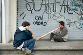 Digeridoo-players at a festival of traditional music and instrument-makers, St Jean du Gard, France