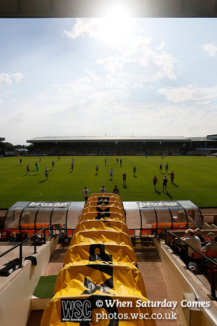 Port Vale 3 Doncaster Rovers 0, 22/08/2015. League One, Vale Park. The teams come out for the second half. Photo by Paul Thompson.