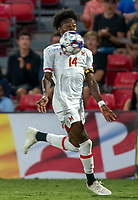 COLLEGE PARK, MD - SEPTEMBER 3: Maryland University midfielder Josua Bolma (14) moves onto a high cross during a game between George Mason University and University of Maryland at Ludwig Field on September 3, 2021 in College Park, Maryland.