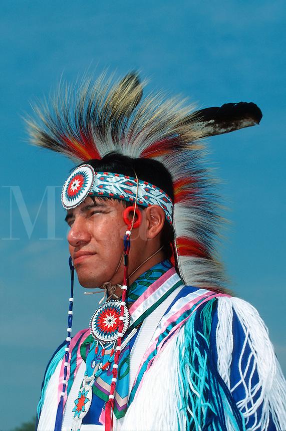 Profile portrait of a male Native American Indian Fancy Dress Dancer.