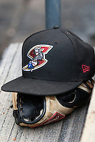 Sacramento River Cats hat in the dugout during the Pacific Coast League baseball game against the Round Rock Express on June 19, 2014 at the Dell Diamond in Round Rock, Texas. The Express defeated the River Cats 7-1. (Andrew Woolley/Four Seam Images)
