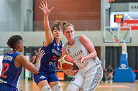 Emma Meesseman (11) of Belgium and Tina Krajisnik (33) of Serbia pictured during a basketball game between the national teams of Belgium , called the Belgian Cats , and Serbia on Friday 28 th of May 2021 in Kortrijk , Belgium . PHOTO SPORTPIX.BE   SPP   STIJN AUDOOREN