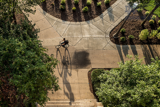 Aug. 27, 2014; Cyclist in the early morning<br /> <br /> Photo by Matt Cashore/University of Notre Dame