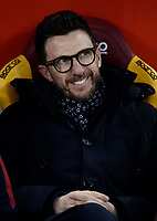 Calcio, Serie A: AS Roma - Benevento, Roma, stadio Olimpico, 11 gennaio 2018.<br /> Roma's coach Eusebio Di Francesco waits for the start of the Italian Serie A football match between AS Roma and Benevento at Rome's Olympic stadium, February 11, 2018.<br /> UPDATE IMAGES PRESS/Isabella Bonotto