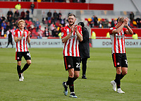 22nd May 2021; Brentford Community Stadium, London, England; English Football League Championship Football, Playoff, Brentford FC versus Bournemouth; Henrik Dalsgaard, Marcus Forss and Mads Bidstrup of Brentford applauding the Brentford fans after full time