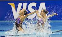 Japana JPN.KOBAYASHI Chisa.SAKAI Mariko.London 2012 Olympic Synchronised Swimming Qualification Tournament.Day01 - Duet Technical.Photo Insidefoto / Giorgio Scala.