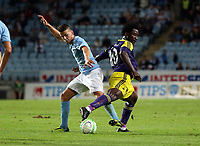 Thursday 08 August 2013<br /> Pictured L-R: Erdal Rakip of Malmo challenging Wilfried Bony of Swansea<br /> Re: Malmo FF v Swansea City FC, UEFA Europa League 3rd Qualifying Round, Second Leg, at the Swedbank Stadium, Malmo, Sweden.