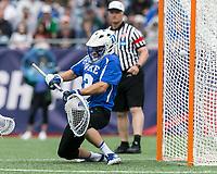Foxborough, Massachusetts - May 28, 2018: NCAA Division I tournament final. Yale University (white) defeated Duke University (blue/white), 13-11, at Gillette Stadium.<br /> Goal.