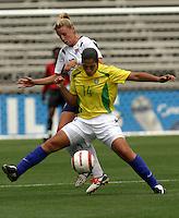 Daniela v Ally Wagner.US Women's National Team vs Brazil at Legion Field in Birmingham, Alabama.