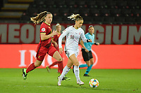 Belgian Tine De Caigny (6) and Swiss Viola Calligaris (18)  pictured during a female soccer game between the national teams of Belgium , called the Red Flames and Switzerland on the 8 th and last matchday in group H for the qualification for the Womens EURO 2022 in England , on Tuesday 1 th of December 2020  in Leuven , Belgium . PHOTO SPORTPIX.BE   SPP   DIRK VUYLSTEKE