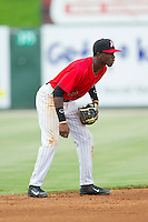 Tim Anderson (2) of the Kannapolis Intimidators on defense against the Greensboro Grasshoppers at CMC-Northeast Stadium on July 13, 2013 in Kannapolis, North Carolina.  The Intimidators defeated the Grasshoppers 7-5.   (Brian Westerholt/Four Seam Images)