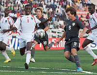 Jack McInerney battles for the ball against Bongani Kaipa. US Men's National Team Under 17 defeated Malawi 1-0 in the second game of the FIFA 2009 Under-17 World Cup at Sani Abacha Stadium in Kano, Nigeria on October 29, 2009.