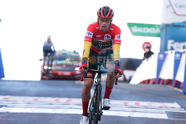 Red Jersey Primoz Roglic (SLO) Team Jumbo-Visma crosses the finish line with enough seconds to secure the overall victory at the end of Stage 17 of the Vuelta Espana 2020, running 178.2km from Sequeros to Alto de la Covatilla, Spain. 7th November 2020. <br /> Picture: Luis Angel Gomez/PhotoSportGomez | Cyclefile<br /> <br /> All photos usage must carry mandatory copyright credit (© Cyclefile | Luis Angel Gomez/PhotoSportGomez)