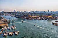 A view from the Burrard Street Bridge of Granville Island Vancouver.