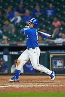 T.J. Collett (5) of the Kentucky Wildcats follows through on his swing against the Louisiana Ragin' Cajuns in game seven of the 2018 Shriners Hospitals for Children College Classic at Minute Maid Park on March 4, 2018 in Houston, Texas.  The Wildcats defeated the Ragin' Cajuns 10-4. (Brian Westerholt/Four Seam Images)