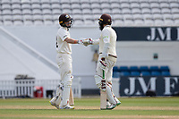 Hashim Amla congratulates Ollie Pope of Surrey on his 50 during Surrey CCC vs Hampshire CCC, LV Insurance County Championship Group 2 Cricket at the Kia Oval on 30th April 2021