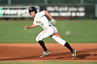 Bradenton Marauders shortstop Adam Frazier (10) watches the pitch as heads to second during a game against the Jupiter Hammerheads on June 25, 2014 at McKechnie Field in Bradenton, Florida.  Bradenton defeated Jupiter 11-0.  (Mike Janes/Four Seam Images)