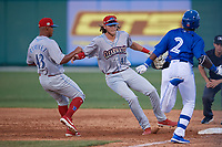 Clearwater Threshers first baseman Alec Bohm (40) beats Chavez Young (2) to the bag for the force out as pitcher Luis Ramirez (43) looks on during a Florida State League game against the Dunedin Blue Jays on May 11, 2019 at Jack Russell Memorial Stadium in Clearwater, Florida.  Clearwater defeated Dunedin 9-3.  (Mike Janes/Four Seam Images)
