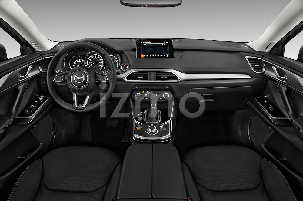 Stock photo of straight dashboard view of 2018 Mazda CX-9 Touring-FWD 5 Door SUV Dashboard