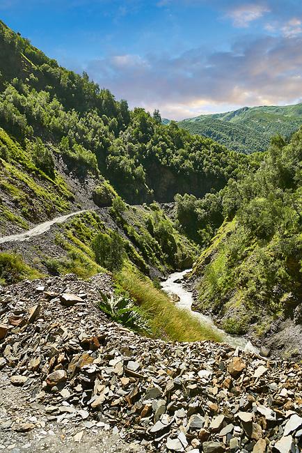 Main road access to Ushguli along the River Enguri gorge in th Caucasus mountains, Upper Svaneti, Georgia (country)