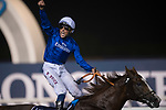 DUBAI,UNITED ARAB EMIRATES-MARCH 31: (7) Hawkbill,ridden by William Buick,wins the Longines Dubai Sheema Classic at Meydan Racecourse on March 31,2018 in Dubai,United Arab Emirates (Photo by Michael McInally/Eclipse Sportswire/Getty Images)