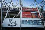 Derby County 1 Nottingham Forest 2, 17/01/2015. iPro Stadium, Championship. Advertising on the exterior of the iPro Stadium, pictured before Derby Country's Championship match against Nottingham Forest. The match was won by the visitors by 2 goals to 1, watched by a derby-day crowd of 32,705. The stadium, opened in 1997, was formerly known as Pride Park. Photo by Colin McPherson.