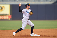 Tampa Tarpons second baseman Trevor Hauver (17) throws to first base during a game against the Fort Myers Mighty Mussels on May 19, 2021 at George M. Steinbrenner Field in Tampa, Florida. (Mike Janes/Four Seam Images)