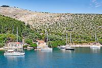 Sailing boats at Agia Sofia & Plati Limani in Kefalonia island, Greece