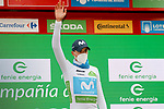 Enric Mas (ESP) Movistar Team retains the young riders White Jersey at the end of Stage 14 of the Vuelta Espana 2020, running 204.7km from Lugo to Ourense, Spain. 4th November 2020. <br /> Picture: Luis Angel Gomez/PhotoSportGomez | Cyclefile<br /> <br /> All photos usage must carry mandatory copyright credit (© Cyclefile | Luis Angel Gomez/PhotoSportGomez)