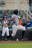 Sam Dexter (23) of the Kannapolis Intimidators follows through on his swing against the Delmarva Shorebirds at Kannapolis Intimidators Stadium on June 30, 2017 in Kannapolis, North Carolina.  The Shorebirds defeated the Intimidators 6-4.  (Brian Westerholt/Four Seam Images)
