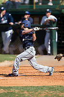 Ty Andrus (3) of the Wingate Bulldogs follows through on his swing against the Catawba Indians at Newman Park on March 19, 2017 in Salisbury, North Carolina. The Indians defeated the Bulldogs 12-6. (Brian Westerholt/Four Seam Images)