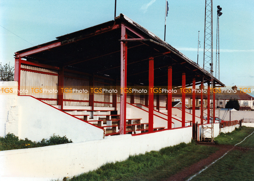 The main stand at Rainham Town Football Club, Deri Park, Rainham, Essex, pictured on 2nd February 1992