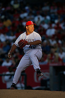 Bartolo Colon of the Los Angeles Angels during a 2007 MLB season game at Angel Stadium in Anaheim, California. (Larry Goren/Four Seam Images)