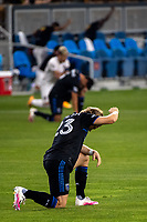 SAN JOSE, CA - SEPTEMBER 05: Florian Jungwirth #23 kneels during a game between Colorado Rapids and San Jose Earthquakes at Earthquakes Stadium on September 05, 2020 in San Jose, California.