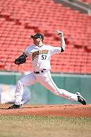 April 14th, 2008:  Pitcher Aaron Laffey (57) of the Buffalo Bisons, Class-AAA affiliate of the Cleveland Indians, during a game at Dunn Tire Park in Buffalo, NY.  Photo by:  Mike Janes/Four Seam Images