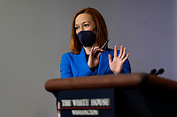 White House Press Secretary Jen Psaki holds a press briefing in the Brady Press Briefing Room of the White House in Washington, DC on April 26, 2021. <br /> CAP/MPI/RS<br /> ©RS/MPI/Capital Pictures