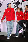 Real Madrid players Cristiano Ronaldo (l) and Luka Modric participate and receive new Audi during the presentation of Real Madrid's new cars made by Audi at the Jarama racetrack on November 8, 2012 in Madrid, Spain.(ALTERPHOTOS/Harry S. Stamper)